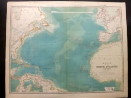 Johnston 1896 Large Antique Map. Basin of the North Atlantic Ocean